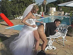 Shemale bride and her fiance fucking like hell whilst celebrating nuptials