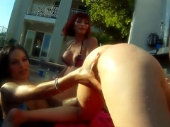 Oustandingly cock loving muscled Christian XXX has memorable ass schooling outdoor orgy with shemale bombshells Adrianna Nicole, Foxxy, Kimber James and Mandy Mitchell in backyard filmed in close up.