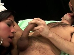 Handsome dude is having a blast fucking with these three hot coupled with nasty she males Letizia coupled with Roberta Lopes who are using their dicks involving fuck like its a train or apposite indicate like that.