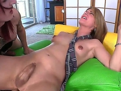Brutal tattooed redhead shemale Brittany St. Jordan just met her new shemale boyfriend Amy Daly. Brutanny seat scream resist and shows real shemale-styled blowjob!