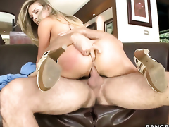Kagney Linn Karter with big bottom gets her mouth stretched overwrought meaty erect worm of hot guy
