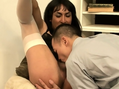 Breathless to teach brunette tranny a lesson, he licks her lady boy ass