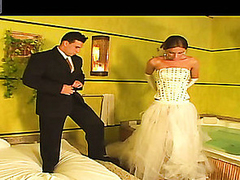 Hawt shemale bride drilling the booty of her fiance right in their nuptial daybed