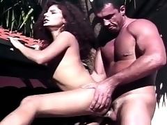 Horny tranny enjoying sizzling outdoor ass fucking