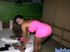 Big tits ladyboy Jasmine fucks a guy anal everywhere her chubby dick