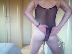 Crossdresser In Body Fishnet Teasing On Cam