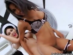 Asian ladyboys Seang and Alisa bang each others butthole and cum shot