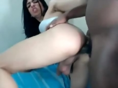 Very horny brunette Ts fucking with black guy