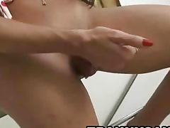 Sexy latina shemale hottie tugging in the first place her hard cock