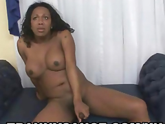 Yummy ebony shemale hottie tuggingo n her hard cock