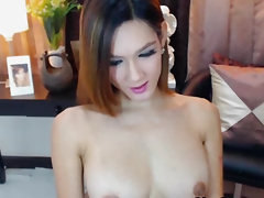 Busty Pretty Shemale Fingers analogous to She has Pussy