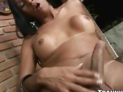 Yummy amateur suntanned shemale tugs in the sky her cock