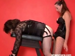 Horny tgirl gets banged by a huge sew on