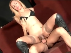 Comely transgender battle-axe involving stockings fucked